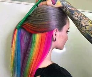colored, colorful hair, and hair image