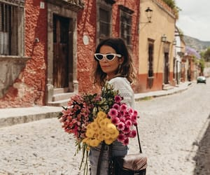 blogger, fashion, and flowers image