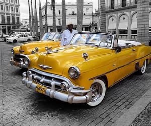 old cars, yellow car, and classic cars image