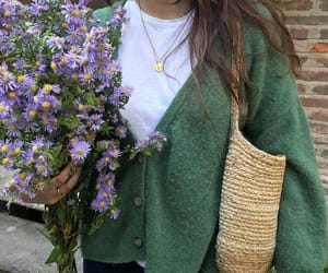 bouquet, cardigan, and fashion image