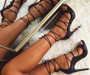 black, heels, and fashion image