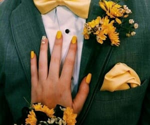 yellow, couple, and sunflower image