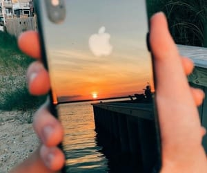 iphone, apple, and sunset image