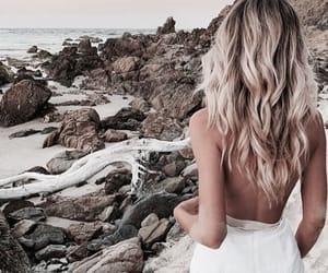 beach, blonde, and dress image