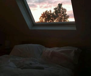 bed, room, and sky image