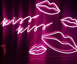 pink, neon, and kiss image
