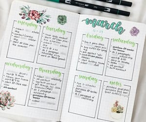 flowers, march, and planner image