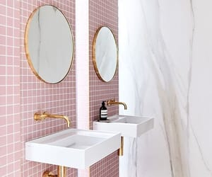 bathroom, pink, and interior image