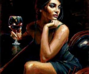 art, wine, and woman image