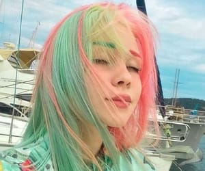 hair, colorful, and pink image