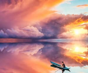 beach, beautiful, and boat image