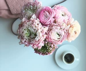 bag, bouquet, and coffee image