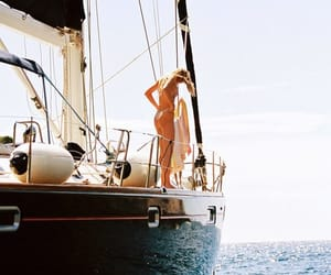 boat, girl, and ocean image