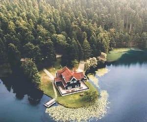 home, house, and lake image