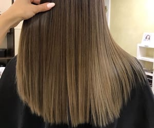 straight long hair, brune brunette, and ombre balayage image