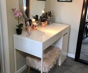 mirror, rose, and vanity image