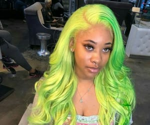 beauty, fashion, and green hair image