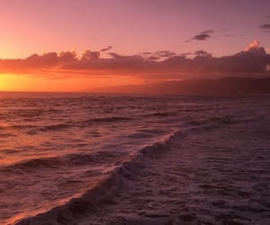 sea, ocean, and sunset image