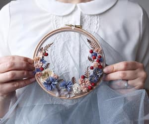 flowers, embroidery, and girl image