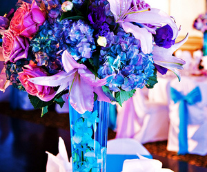 blue, bouquet, and pink image