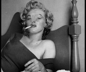 Marilyn Monroe, black and white, and cigarette image