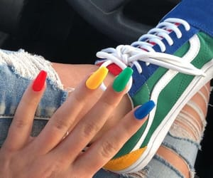 nails, vans, and rainbow image