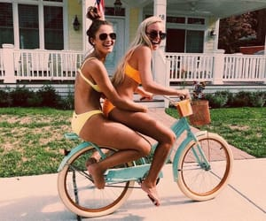bike, city, and girls image