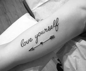 tattoo, arrow, and love yourself image