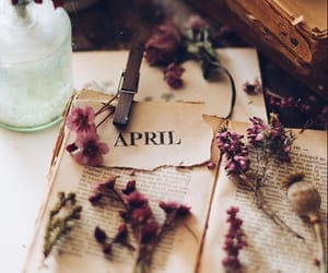 april, books, and flowers image