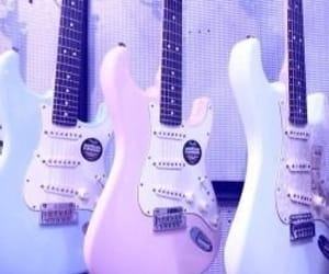 guitar, pastel, and pink image