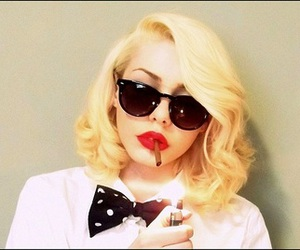 blonde, bowtie, and classy image