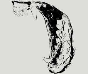 art, black and white, and teeth image