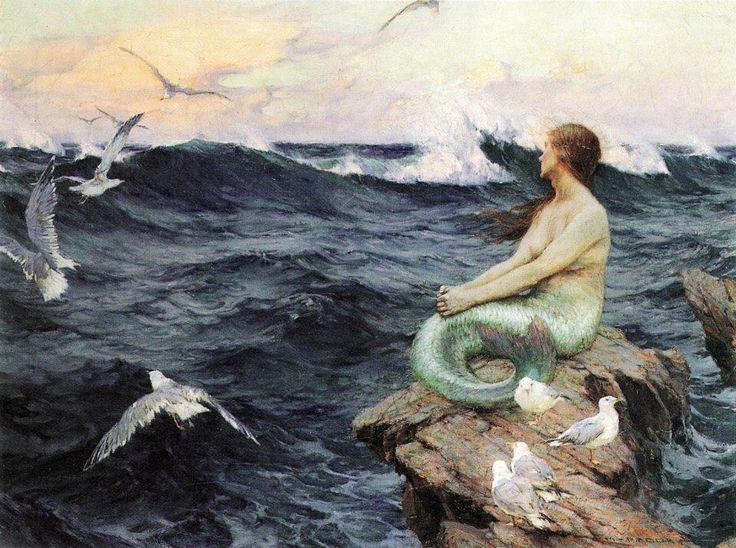 maid of la mer, by benes knupfer, and pensive mermaid image