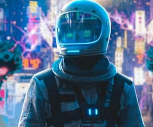 astronaut, neon, and wallpaper image