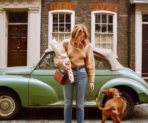 brown, dog, and girl image