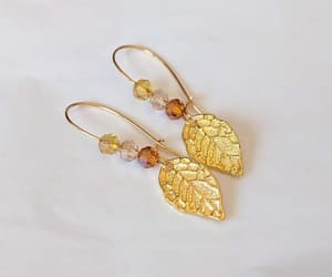 gold earrings, dangle earrings, and nature jewelry image