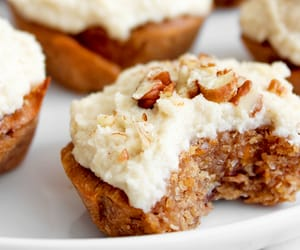 carrot cake, cupcakes, and dessert image