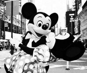 black and white, disney, and mickey image