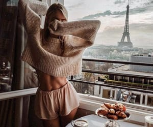 girl, paris, and breakfast image