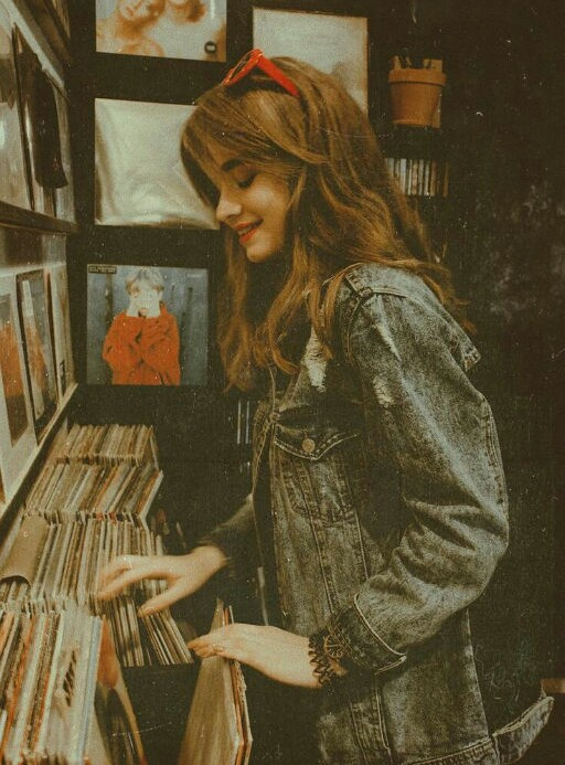 girl, vintage, and music image