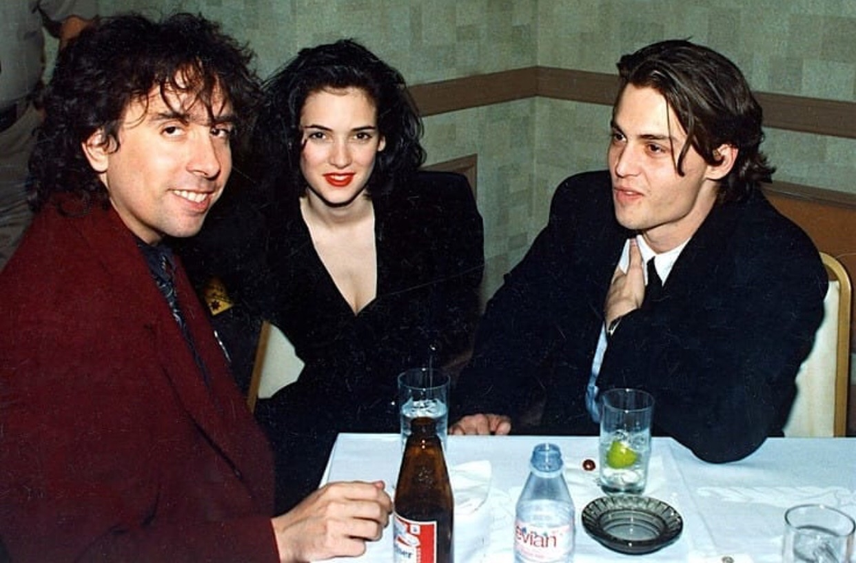 winona ryder, johnny depp, and tim burton image