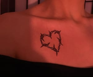 tattoo, heart, and red image