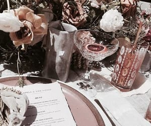 drink, flowers, and food image