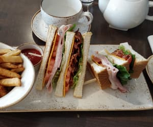 afternoon tea, bacon, and blt image