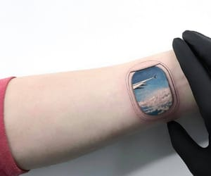 tattoo, airplane, and sky image