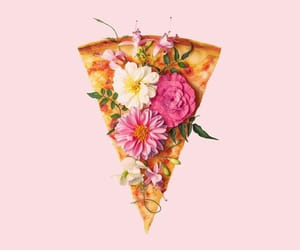 pizza, wallpaper, and flowers image