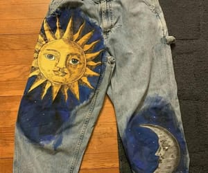 art, jeans, and moon image