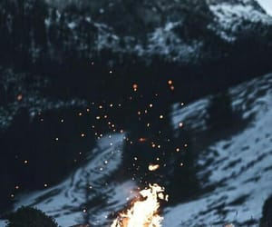 fire, winter, and snow image