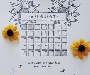 August, calendar, and flowers image