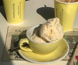 yellow, ice cream, and food image